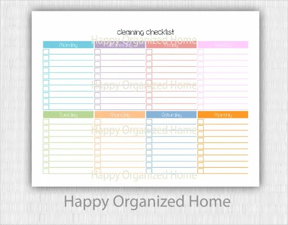 Cleaning Checklist Template - 29+ Free Word, Excel, PDF Documents