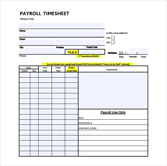 Weekly Payroll Time Sheets Template