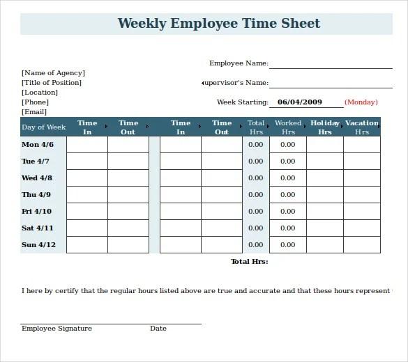 20+ Payroll Timesheet Templates  Samples - DOC, PDF, Excel Free