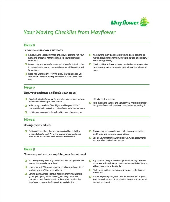 Moving Checklist Template \u2013 19+ Word, Excel, PDF Documents Download - moving checklist template