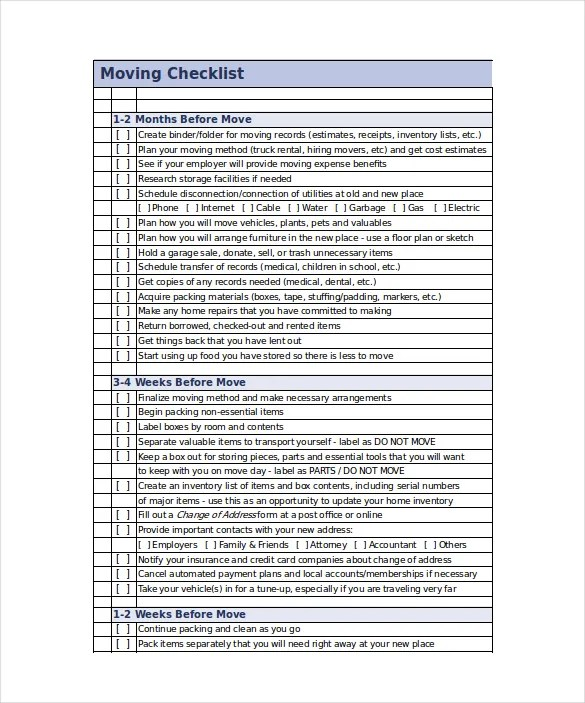 Moving Checklist Template - 20+ Word, Excel, PDF Documents Download