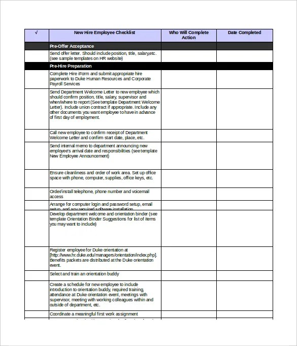 New Hire Checklist Templates \u2013 16+ Free Word, Excel, PDF Documents - new hire checklist template