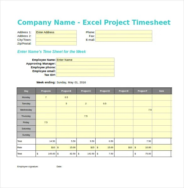 21+ Project Timesheet Templates \u2013 Free Sample, Example Format - sample project timesheet