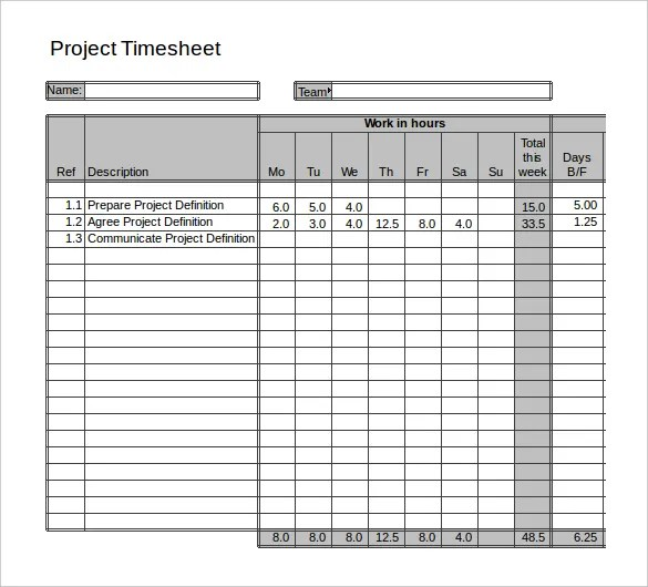 project timesheet template - Onwebioinnovate - sample project timesheet