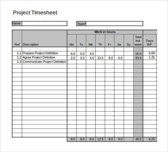 daily project timesheet template