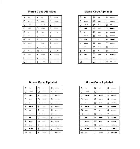 10+ Free Download Morse Code Chart Templates in Word Free