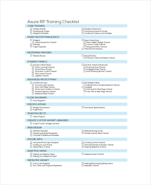 Training Checklist Template - 15+ Free Word, Excel, PDF Documents