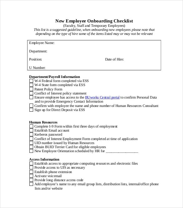 Onboarding Checklist Template \u2013 15+ Free Word, Excel, PDF Documents - sample new hire checklist template