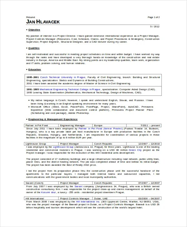 9+ Superintendent Resume Templates - PDF, DOC Free  Premium Templates - construction superintendent resume templates