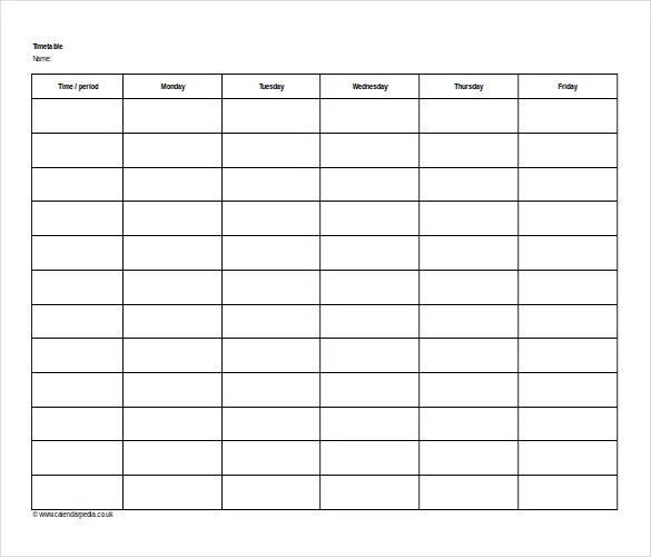 16+ Microsoft Word 2010 Format Timetable Templates Free Download - microsoft timetable template