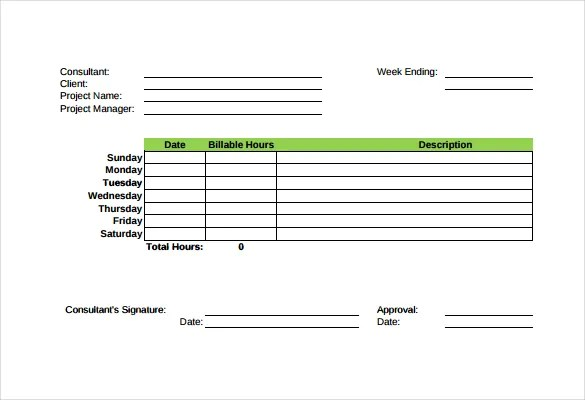 Consultant Timesheet Template Free Download | Curriculum Vitae For