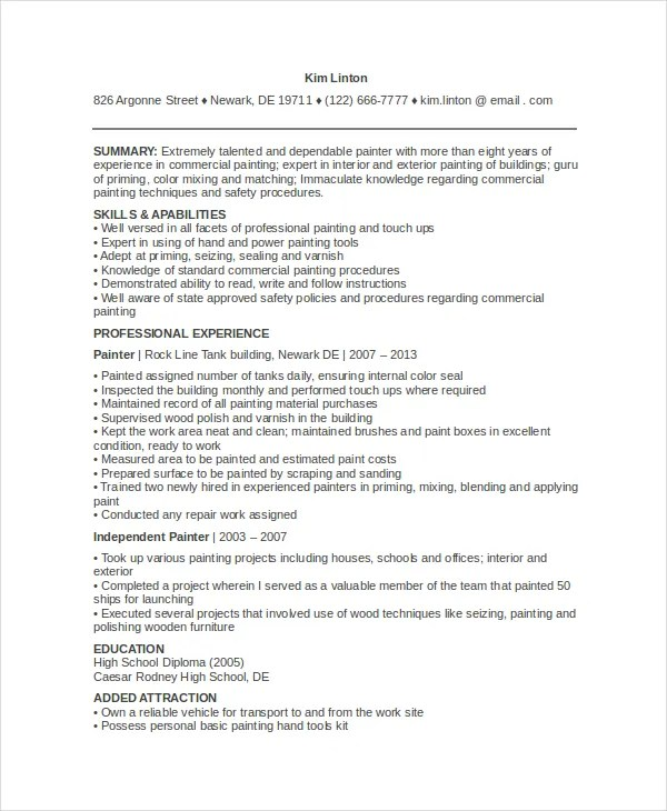 Loras College - English - Creative Writing spray painter resume