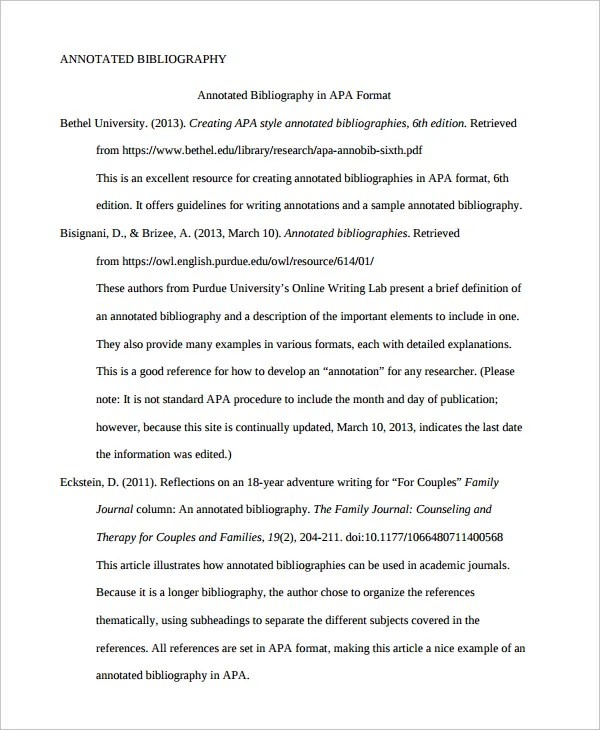 10+ Annotated Bibliography - Free Sample, Example, Format Free - Annotated Bibliography Template Apa