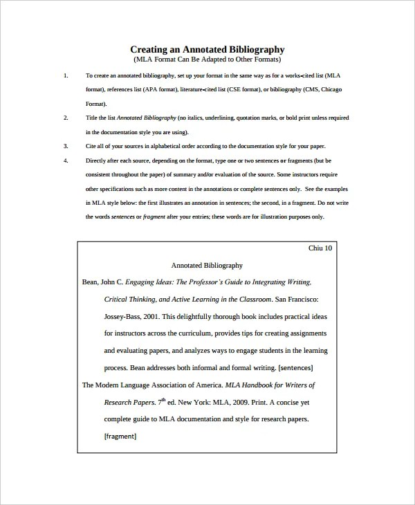 10+ Annotated Bibliography - Free Sample, Example, Format Free - annotated bibliography template