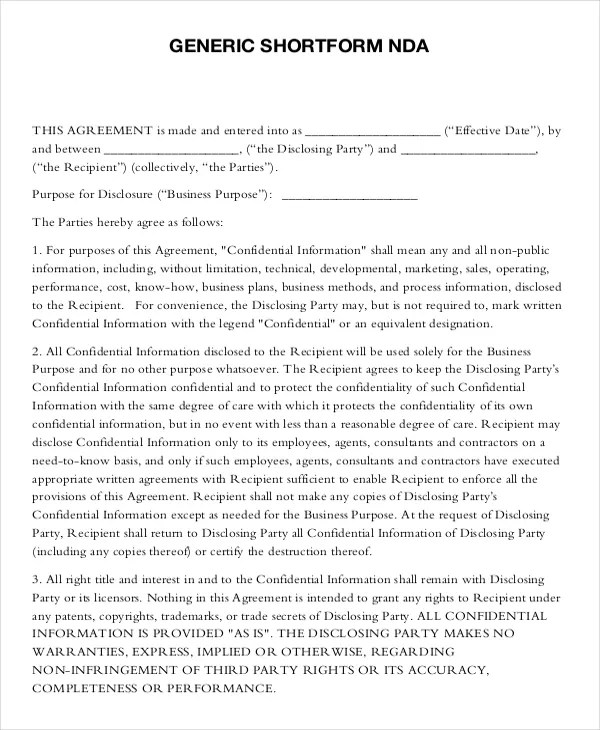 Mutual Non Disclosure Agreement Form \u2013 10+ Free Word, PDF Documents