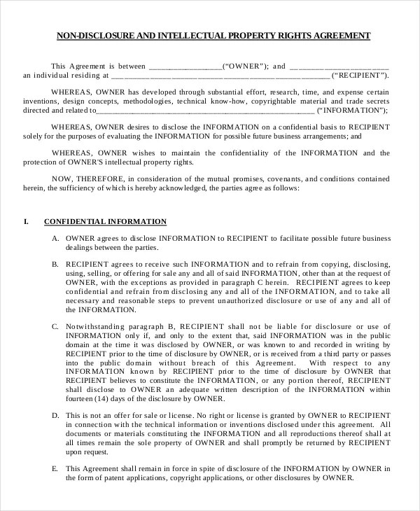 Free Non Disclosure Agreement Form \u2013 10+ Free Word, PDF Documents - business non disclosure agreement
