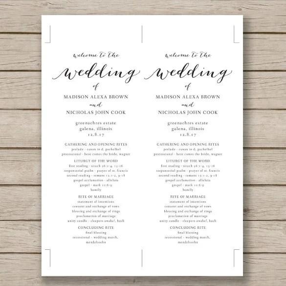 Wedding Program Template - 64+ Free Word, PDF, PSD Documents - wedding programs word template