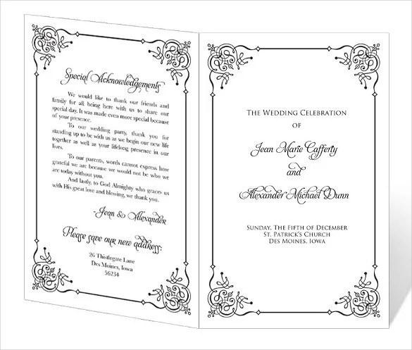 67+ Wedding Program Template - Free Word, PDF, PSD Documents