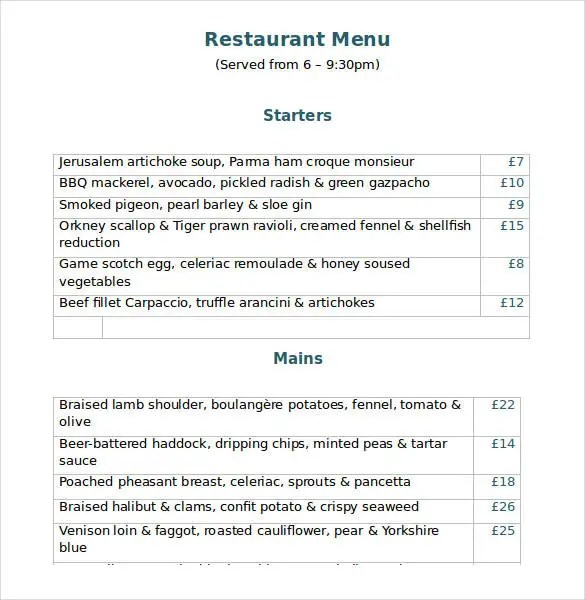 word document menu template - Intoanysearch