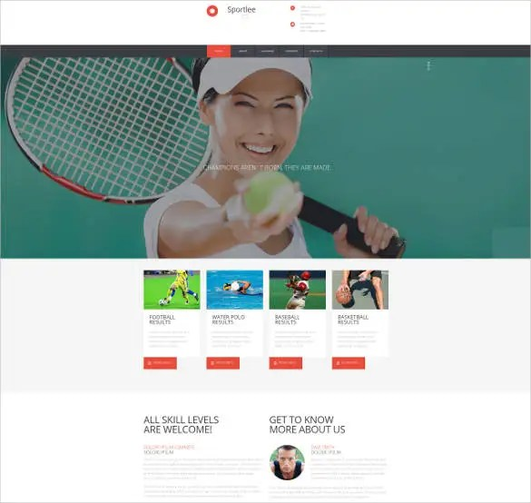43+ Sports Website Themes  Templates Free  Premium Templates