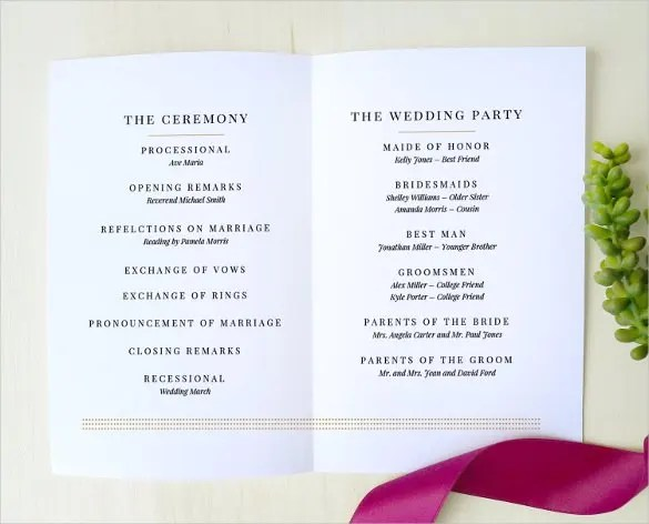 Wedding Program Template - 64+ Free Word, PDF, PSD Documents - how to design wedding program template