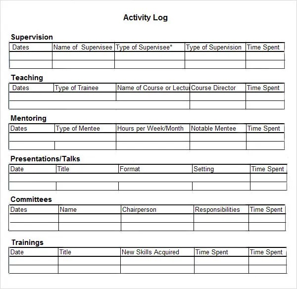 Activity Log Template \u2013 12+ Free Word, Excel, PDF Documents Download