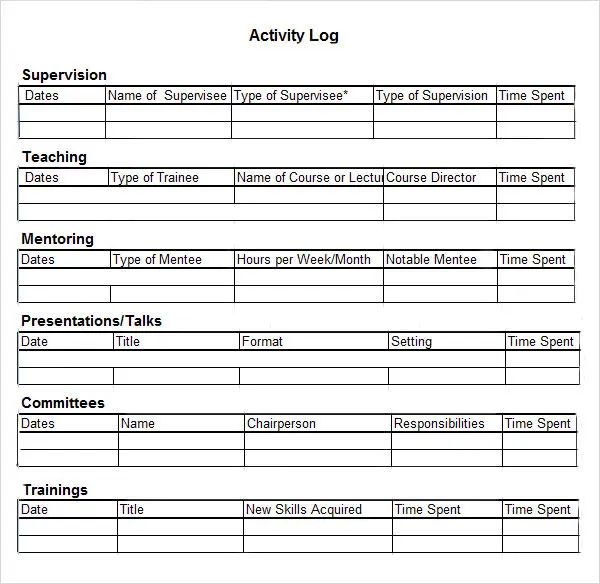 work activity log sheet template