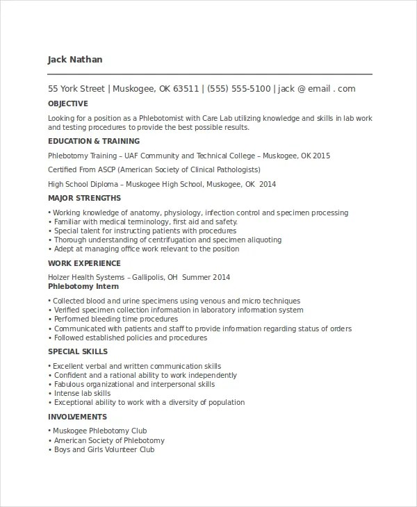 6+ Phlebotomy Resume Templates - PDF, DOC Free  Premium Templates - phlebotomy resume sample
