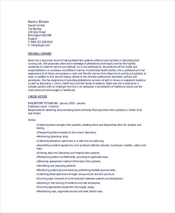 6+ Phlebotomy Resume Templates - PDF, DOC Free  Premium Templates