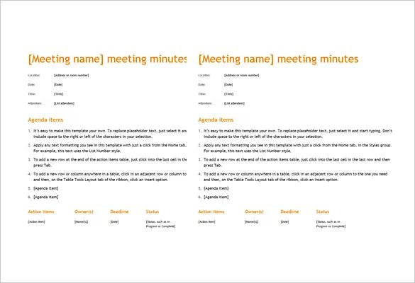 microsoft meeting minutes template