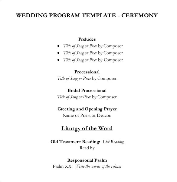 Wedding Program Templates \u2013 15+ Free Word, PDF, PSD Documents