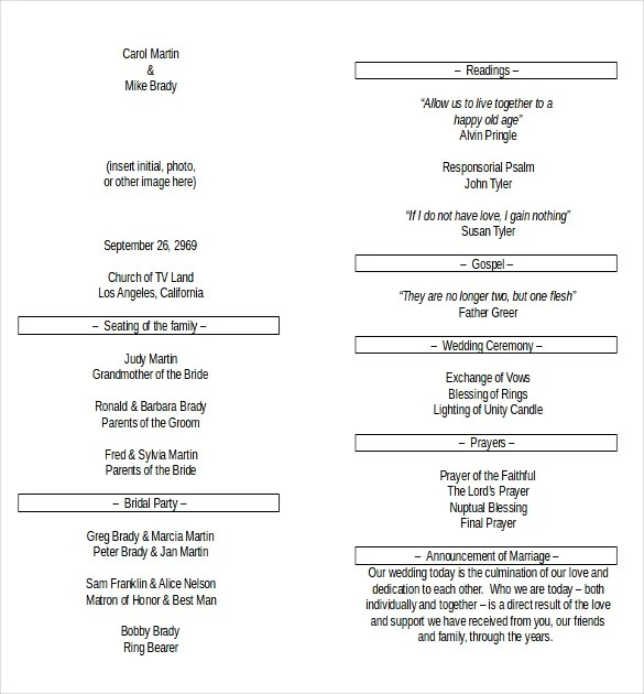 Wedding Program Templates \u2013 15+ Free Word, PDF, PSD Documents - program templates word
