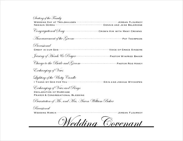 Wedding Program Templates \u2013 15+ Free Word, PDF, PSD Documents