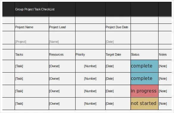 Task Template Excel Colbro