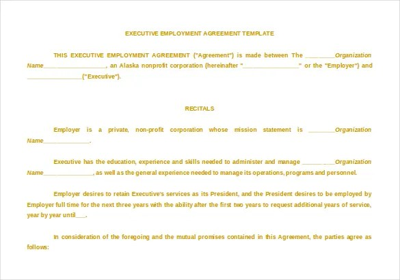 Executive Agreement Template Executive Agreement Word Format Free - sample executive agreement