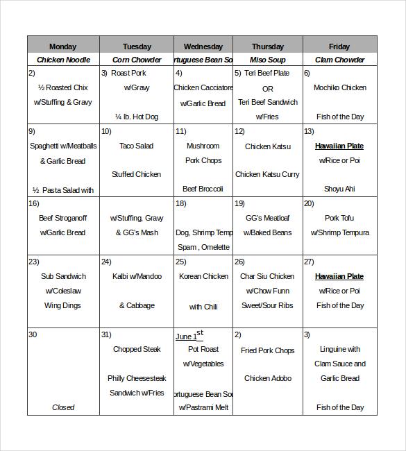 microsoft restaurant menu template