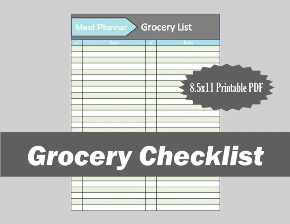 Grocery Checklist Template \u2013 11+ Free Word, Excel, PDF Documents