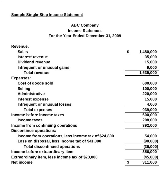 Income Statement Templates \u2013 23+ Free Word, Excel, PDF Documents