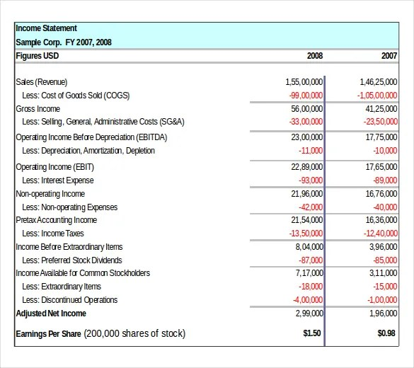 Income Statement Templates \u2013 23+ Free Word, Excel, PDF Documents - generic income statement