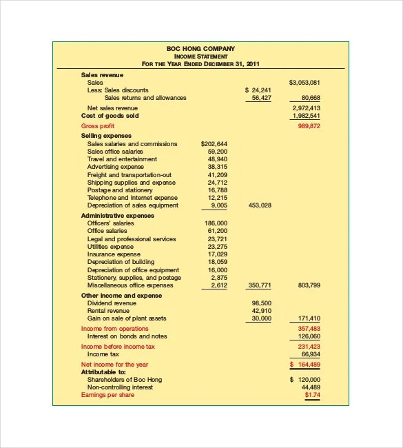 Income Statement Templates \u2013 23+ Free Word, Excel, PDF Documents - income statement example