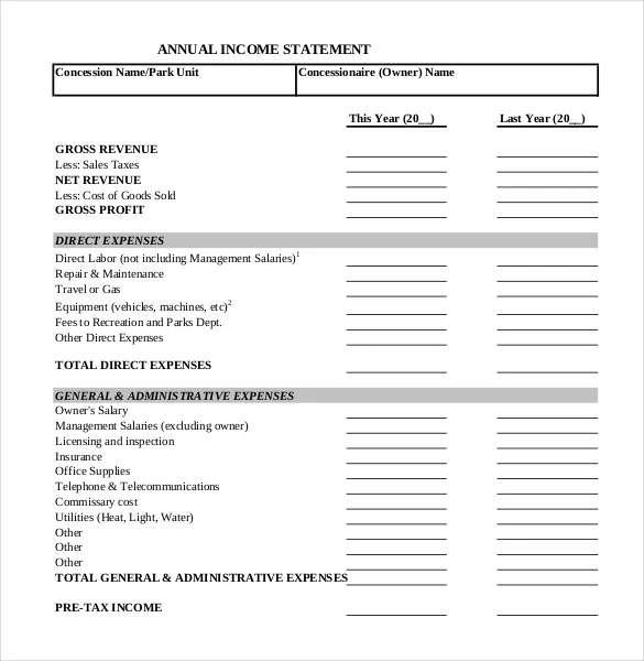 Income Statement Templates u2013 15+ Free Word, Excel, PDF Documents - financial statements templates