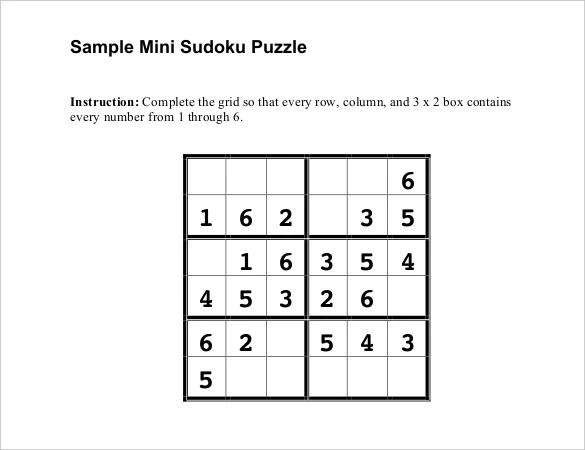 Prinable Sudoku Templates \u2013 15+ Free Word, PDF Documents Download