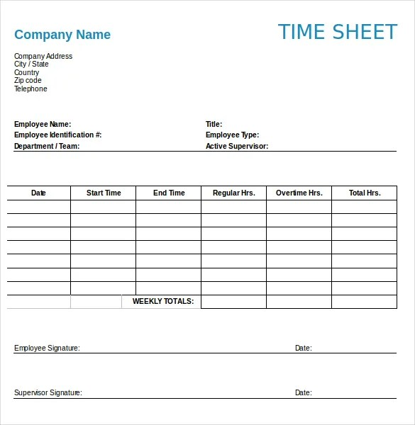 Numbers Timesheet Templates \u2013 18+ Free Sample, Example Format