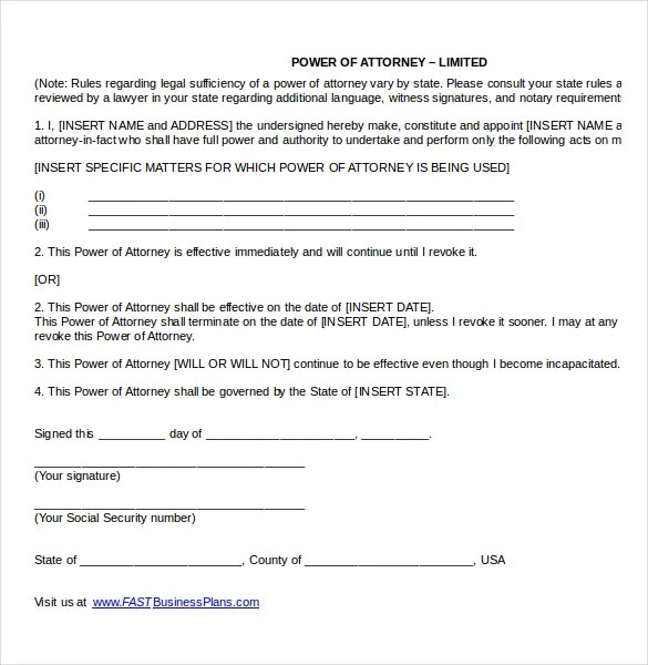 Power of Attorney Templates \u2013 10+ Free Word, PDF Documents Download