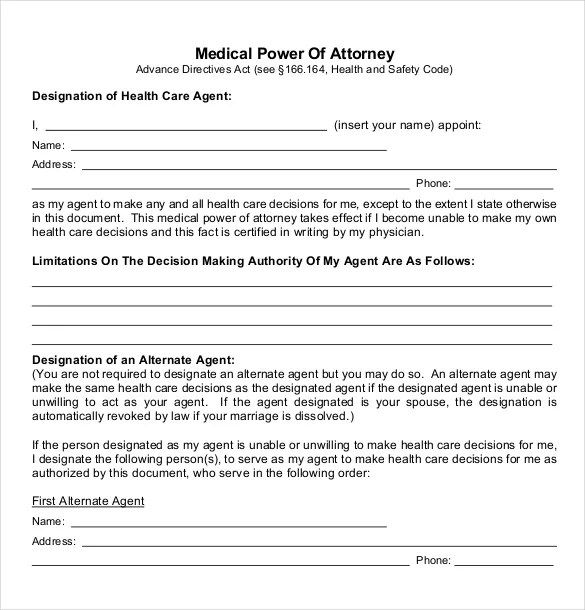 Power of Attorney Templates u2013 10+ Free Word, PDF Documents - sample medical power of attorney form example