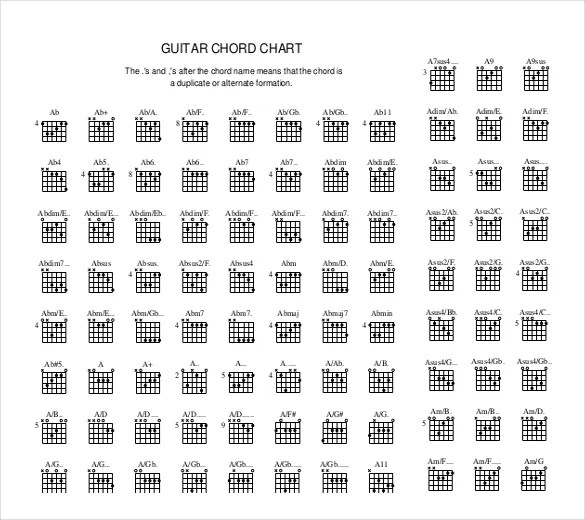 Guitar Chord Chart Templates \u2013 12+ Free Word, PDF Documents Download