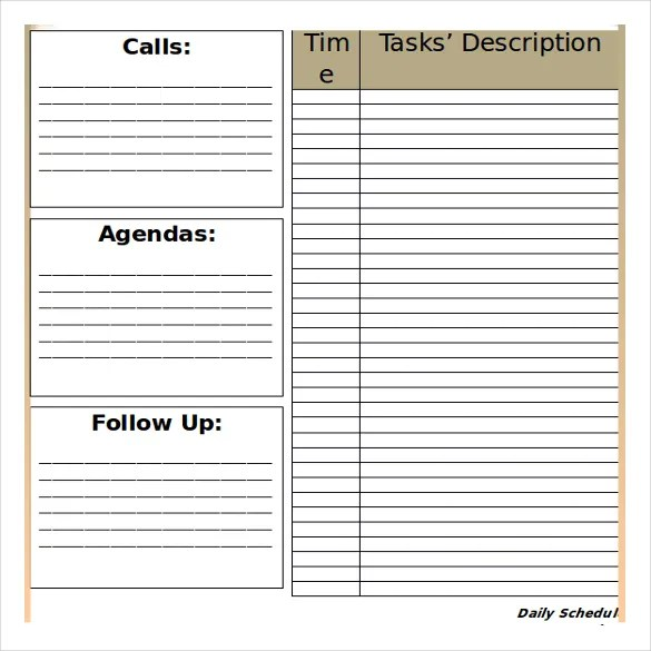 27+ Free Microsoft Word Schedule Templates Free  Premium Templates - microsoft daily planner