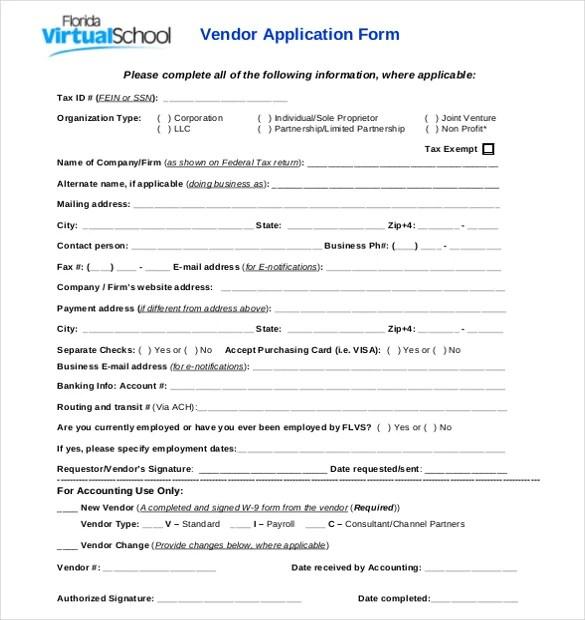 Vendor Application Template \u2013 12+ Free Word, PDF Documents Download - vendor application form