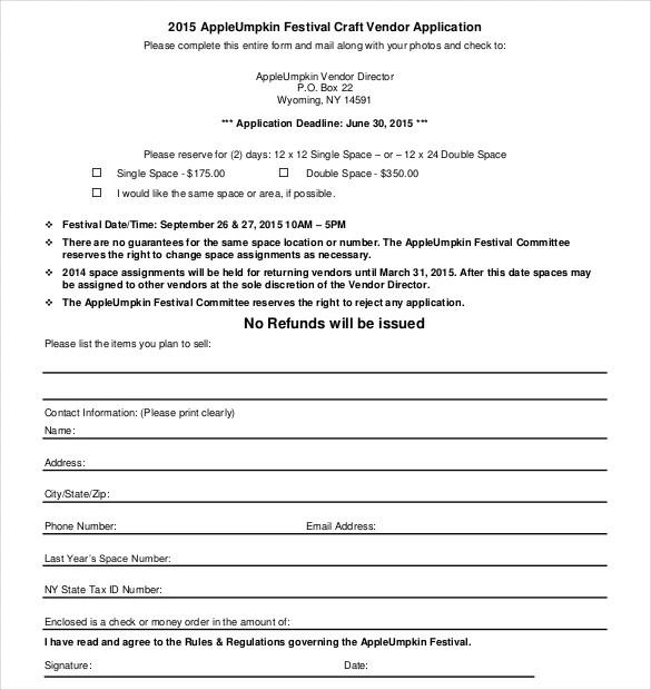 Vendor Application Template \u2013 9+ Free Word, PDF Documents Download