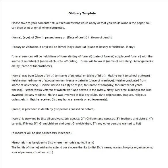 10+ Microsoft Word Obituary Templates Free Download Free  Premium